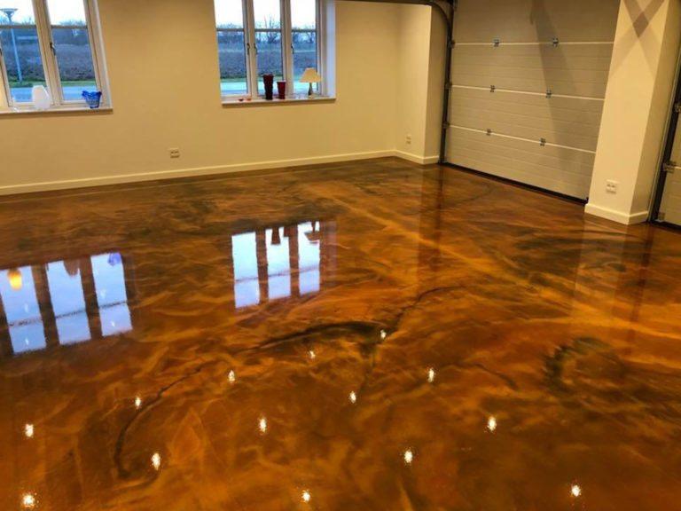 Metallic epoxy, garage gulv